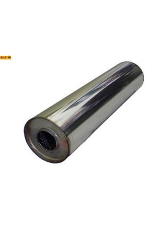 Universalschalldämpfer Rund einflutig ohne Stutzen Eingang Ø 55mm Schallkörper Ø 125mm Länge 420mm Edelstahl
