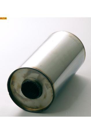 Universalschalldämpfer Rund einflutig ohne Stutzen Eingang Ø 50mm Schallkörper Ø 125mm Länge 250mm Edelstahl