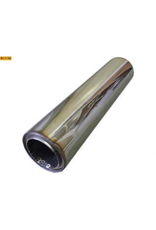 Universalschalldämpfer Rund einflutig ohne Stutzen Eingang Ø 76mm Schallkörper Ø 100mm Länge 420mm Edelstahl