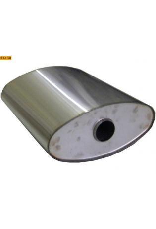 Universalschalldämpfer Oval einflutig ohne Stutzen Eingang Ø 63.5mm Schallkörper B356 x H160 x L420mm Edelstahl