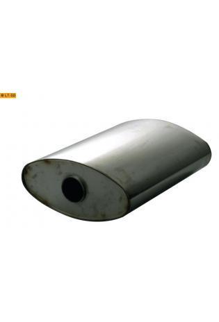 Universalschalldämpfer Oval einflutig ohne Stutzen Eingang Ø 70mm Schallkörper B356 x H160 x L420mm Edelstahl