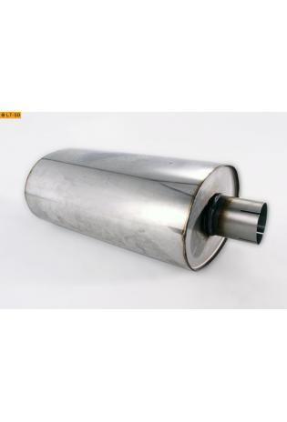 Universalschalldämpfer Oval einflutig mit Stutzen Eingang Ø 76mm Schallkörper B278 x H192 x L420mm Edelstahl