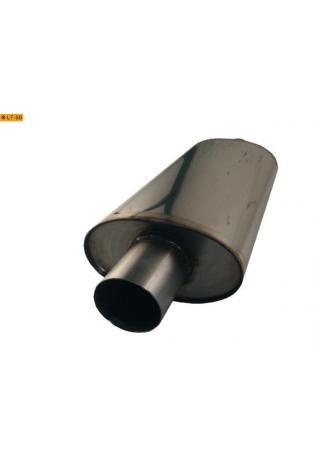 Universalschalldämpfer Oval einflutig mit Stutzen Eingang Ø 76mm Schallkörper B204 x H117 x L420mm Edelstahl