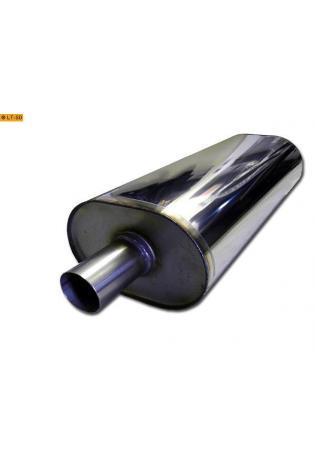 Universalschalldämpfer Oval einflutig mit Stutzen Eingang Ø 55mm Schallkörper B211 x H145 x L420mm Edelstahl