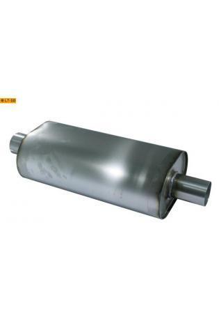 Universalschalldämpfer Oval einflutig mit Stutzen Eingang Ø 63.5mm Schallkörper B211 x H145 x L420mm Edelstahl