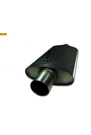 Universalschalldämpfer Oval einflutig mit Stutzen Eingang Ø 76mm Schallkörper B235 x H97 x L420mm Edelstahl