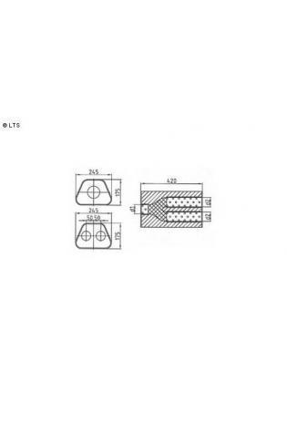 Universalschalldämpfer Trapezförmig zweiflutig mit Y-Aufbau Eingang Ø 55mm (d1)- Ausgang Ø 50mm (d2) Schallkörper B245 x H175 x L420mm Edelstahl