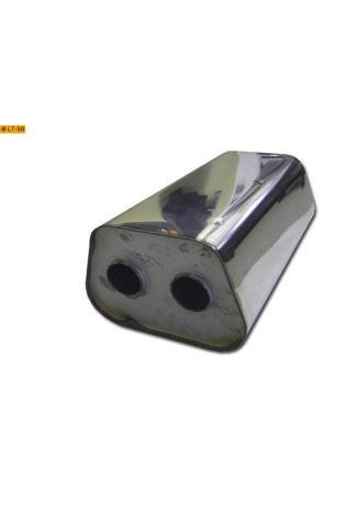 Universalschalldämpfer Trapezförmig zweiflutig Eingang Ø 55mm (d) Schallkörper B245 x H175 x L420mm Edelstahl