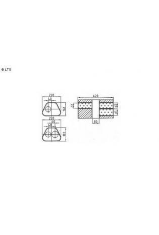 Universalschalldämpfer Trapezförmig zweiflutig mit Kammer Variante 1 Eingang Ø 70mm (d1)  Ausgang Ø 60mm (d2) Schallkörper B220 x H161 x L420mm Edelstahl