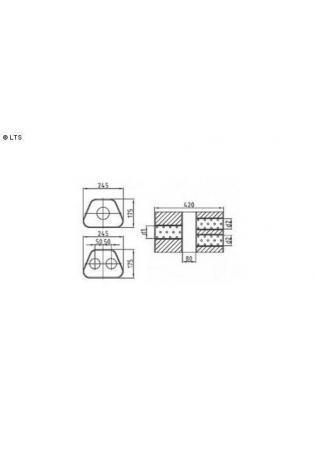 Universalschalldämpfer Trapezförmig zweiflutig mit Kammer Variante 2 Eingang Ø 70mm (d1)- Ausgang Ø 60mm (d2) Schallkörper B245 x H175 x L420mm Edelstahl