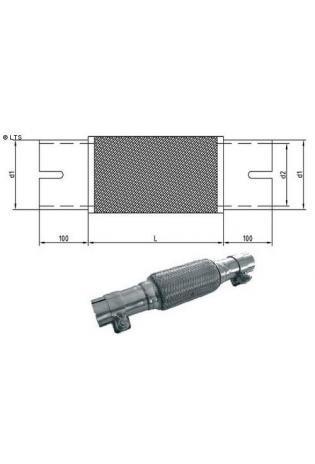 Flexrohr mit Edelstahl-Anschlussrohren - geschlitzt und mit Schelle Ø 70mm (d1) Länge 150mm FOX Universal