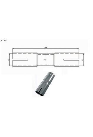 Doppelmuffe Ø 60.3mm (d1) innen 50-70mm (d2) Länge 230mm Edelstahl FOX Universal