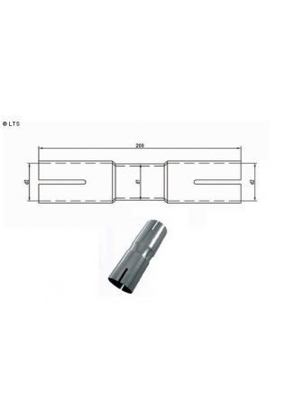 Doppelmuffe Ø 76mm (d1) innen 66-86mm (d2) Länge 230mm Edelstahl FOX Universal