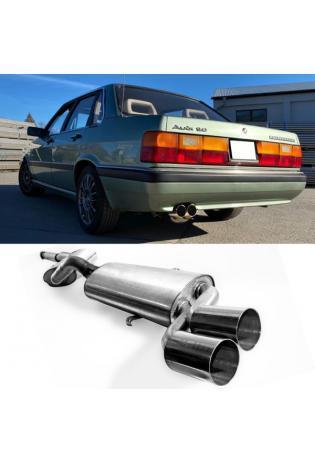 FOX Komplettanlage (für Modelle ohne Kat.) Audi 80/90 Typ 81 85 Limousine Coupe 1.3l bis 2.2l - 2 x 76mm ohne Absorber (AnschlussØ 63.5mm)