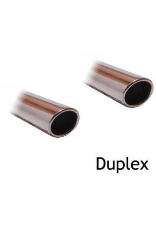 FOX Duplex Komplettanlage ab Kat. VW Golf 5 Typ 1K ab Bj. 03 1.4l TSI  2.0l FSI Turbo  2.0l GTD - rechts links je 129x106mm oval eingerollt abgeschrägt ohne Absorber Edelstahl Sportauspuff