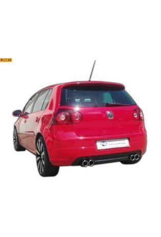 FOX Duplex Komplettanlage ab Kat. VW Golf 5 Typ 1K ab Bj. 03 1.4l TSI  2.0l FSI Turbo  2.0l GTD - rechts links je 2 x 76mm eingerollt abgeschrägt mit Absorber Edelstahl Sportauspuff