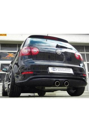 FOX Komplettanlage ab Kat. R32 Design VW Golf 5 Typ 1K ab Bj. 03 1.4l TSI  2.0l FSI Turbo  2.0l GTD - mittig je 2 x 90mm eingerollt abgeschrägt ohne Absorber Edelstahl Sportauspuff