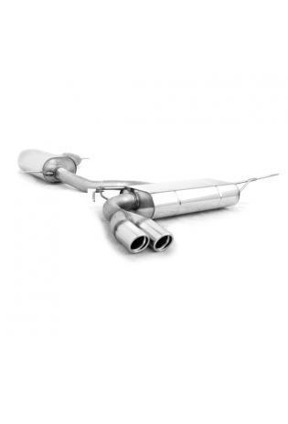 FOX Duplex Komplettanlage ab Kat. VW Golf 5 Typ 1K ab Bj. 03 2.0l GTI 2.0l TDI 2 x 76mm eingerollt abgeschrägt mit Absorber Edelstahl Sportauspuff