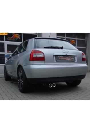 FOX Komplettanlage ab Kat. Audi A3  8L 1.6l  1.8l  1.8l T  1.9l TDI  2 ER 76mm  eingerollt  gerade  mit Absorber Edelstahl Sportauspuff