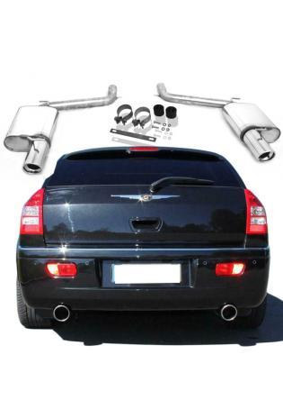 FOX Sportauspuff rechts links je 100mm eingerollt abgeschrägt mit Absorber Chrysler 300C (inkl. AWD) Limousine und Kombi 5.7l Edelstahl Duplex Endschalldämpfer