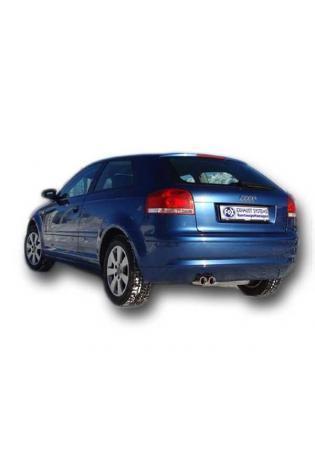 FOX Komplettanlage ab Kat Audi A3 Typ 8P 1.2l 1.4l 1.6l  2.0l  1.9l TDI  2.0l TDI (Modelle ohne serienmäßigen VSD)  2 x 76mm mit Absorber