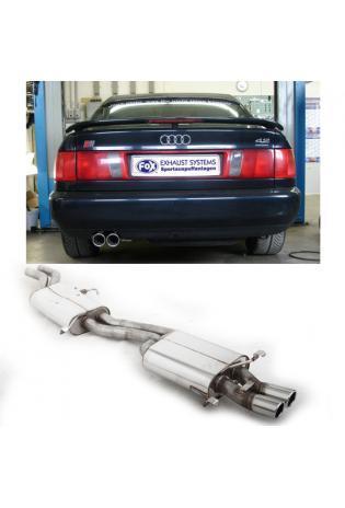 FOX Komplettanlage ab Kat. Audi 100 - S4 - A6 u. S6 Quattro  2.2l  4.2l  2 ER 70mm  eingerollt  abgeschrägt  ohne Absorber Edelstahl Sportauspuff