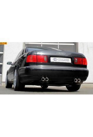 FOX Duplex Komplettanlage ab Kat. Audi A8 - S8  4.2l  rechts  links je 2 ER 76mm  eingerollt  abgeschrägt  mit Absorber  Edelstahl Sportauspuff Ø2x63,5mm