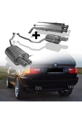 FOX Duplex Komplettanlage ab Kat. BMW X5 E53 4.4l rechts links je 2x76mm mit Absorber