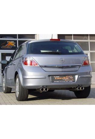 FOX Duplex Komplettanlage ab Kat. Opel Astra H ab Bj. 04 1.4l  1.6l  1.8l  - rechts links je 2 x 76mm eingerollt gerade mit Absorber  Edelstahl Sportauspuff
