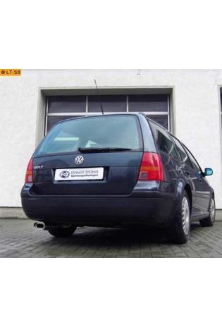 FOX Komplettanlage ab Kat. VW Golf 4 Variant 1.4l  1.6l  1.8l  2.0l  2.3l  1.9l TDI - 135x80mm flachoval eingerollt abgeschrägt mit Absorber  Edelstahl Sportauspuff