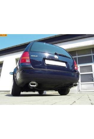 FOX Duplex Komplettanlage ab Kat. VW Golf 4 Variant 1.4l  1.6l  1.8l  2.0l  2.3l  1.9l TDI - rechts links je 135x80mm flachoval eingerollt abgeschrägt mit Absorber  Edelstahl Sportauspuff