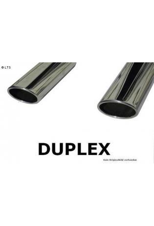FOX Duplex Komplettanlage ab Kat. VW Golf 5 Typ 1K 1.4l  1.6l  2.0l FSI  1.9l TDI  2.0l SDI  2.0l TDI - rechts links je 106x71mm oval eingerollt abgeschrägt ohne Absorber  Edelstahl Sportauspuff
