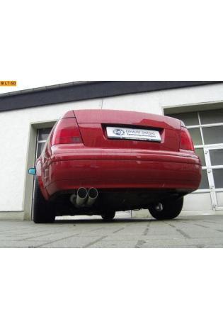 FOX Komplettanlage ab Kat.  VW Bora 1J und VW Bora Variant 1J  ab Bj. 97  1.4l  1.6l T  1.8l  2.0l  2.3l  1.9l SDI  1.9l TDI  2 ER  76mm  uneingerollt  DTM  ohne Absorber  Edelstahl Sportauspuff