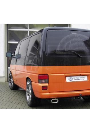 FOX Sportauspuff Komplettanlage ab Kat. VW Bus T4  1.9l  2.0l  2.5l  2.8l  1.9l D 1.9l TD 2.4l D 2.5l TDI - 160x80mm flachoval eingerollt abgeschrägt mit Absorber  (RohrØ 60mm)