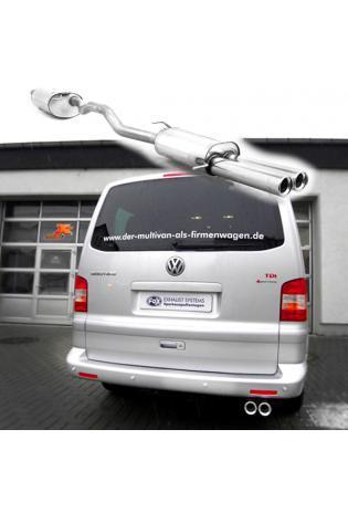 FOX Komplettanlage ab Kat. VW Bus T5 + T6 2.0l  3.2l und Diesel 2 x 80mm mit Absorber