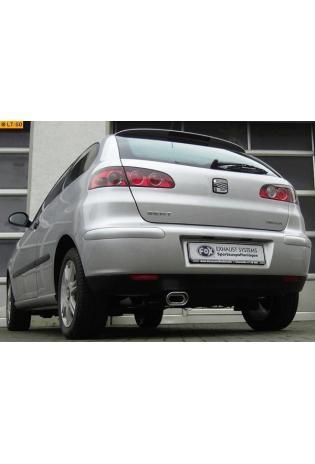 FOX Racinganlage ab Kat. Ohne Tüv Seat Ibiza 1.2l  1.4l  1.4l TDI  1.9l SDI  1.9l TDI - 135x80mm flachoval eingerollt abgeschrägt mit Absorber  Edelstahl Sportauspuff