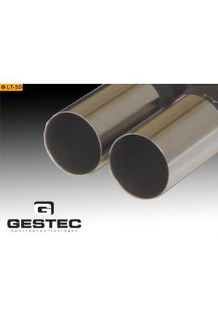 GESTEC Sportauspuff Endschalldämpfer 2x76 mm rund scharfkantig rechts-links Seat Ibiza 6J ab Bj. 08 Serienheck (3- u. 5tür.)