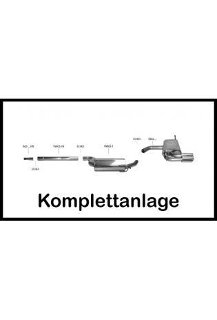 BASTUCK Komplettanlage ab Kat. Seat Altea 5P und Leon 1P 1.6l u. Diesel  2 x 76mm schräg geschnitten Edelstahl (AnschlussØ 63mm)
