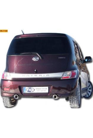 FOX Duplex Sportauspuff Daihatsu Materia 1.3l  1.5l ab Bj. 06 rechts links je 1 x 90mm eingerollt gerade mit Absorber (RohrØ 45mm)