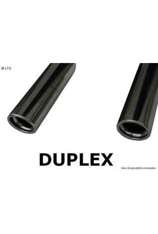 Daihatsu Terios J2 4x4 1.5l ab Bj. 05 FOX Duplex Sportauspuff rechts links je 1 x 90mm eingerollt abgeschrägt mit Absorber (RohrØ 50mm)