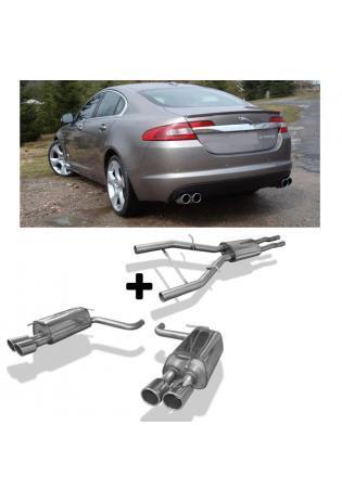 FOX Sportauspuff Komplettanlage ab Kat. Jaguar XF CC9 4.2l ab Bj. 07 re/li je 2x 90mm eingerollt abgeschrägt ohne Absorber (RohrØ 55mm)