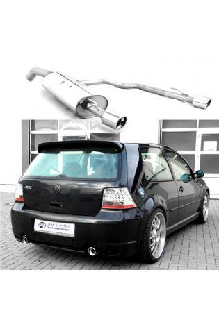 FOX R32 Design Sportauspuff VW Golf 4 1.4l  1.6l  1.8l  2.0l  2.3l  1.9l Diesel rechts links je 90mm eingerollt abgeschrägt mit Absorber (RohrØ 63.5mm)
