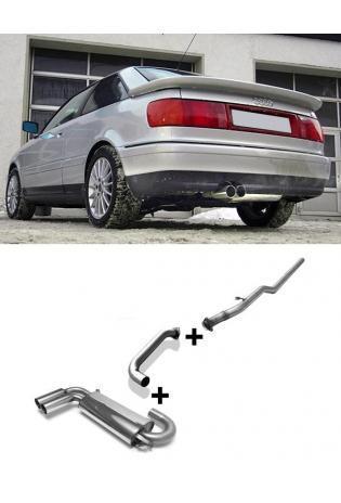 FOX RACING Komplettanlage ab Kat. Audi 80 u. 90 Typ 89 Quattro 1.8l  1.9l  2.0l  2.2l  2.3l  2 ER 76mm  eingerollt  gerade  mit Absorber Edelstahl Sportauspuff Ø63,5mm