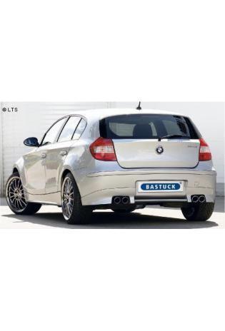 BMW 1er E81 u. E87 Bj. 04-07 116i  118i  120i (mit M-Heckschürze)  BASTUCK Racing Komplettanlage ab Kat. rechts links je 2 x 76mm eingerollt schräg geschnitten (AnschlussØ 63mm)
