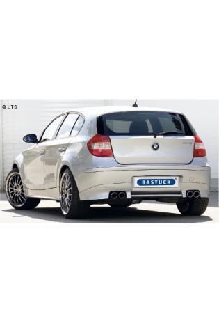 BMW 1er E81 u. E87 ab Bj. 05 130i (ohne M-Heckschürze)  BASTUCK Komplettanlage ab Kat. rechts links je 2 x 76mm eingerollt schräg geschnitten (AnschlussØ 63mm)