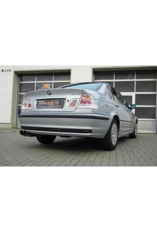 BMW 3er E46 Limousine Kombi Coupe u. Cabrio bis Bj. 00 320i  323i  325i  328i  BASTUCK Komplettanlage ab Kat. 2 x 76mm DTM (AnschlussØ 63mm)