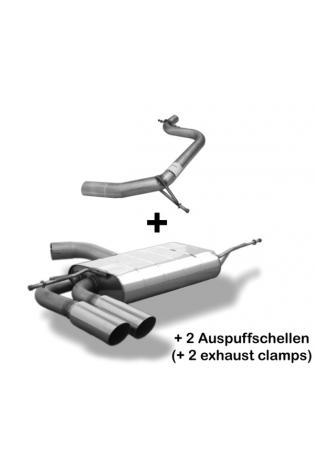 BASTUCK Racing Komplettanlage ab Kat. Seat Altea 5P und Leon 1P 1.4l  1.8l  2.0l  BASTUCK Racing Komplettanlage ab Kat.  2 x 76mm schräg geschnitten Edelstahl (AnschlussØ 63mm)