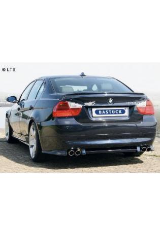 BMW 3er E90 Limousine  E91 Touring 325i  330i bis Bj. 07  BASTUCK Racing Komplettanlage ab Kat. rechts links je 2 x 76mm eingerollt schräg geschnitten (AnschlussØ 63mm)
