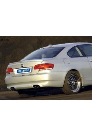 BMW 3er E90 Limousine  E91 Touring  E92 Coupe  335i  335d  BASTUCK Duplex Sportauspuff inkl. Zubehör  rechts links je 2 x 76mm eingerollt schräg (AnschlussØ 63mm)