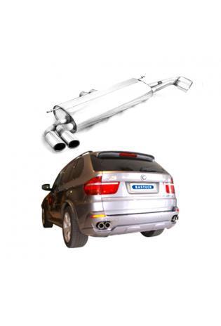 BMW X5 E70 3.0l 4.8l 3.0l Diesel BASTUCK Duplex Sportauspuff rechts links je 2 x 76mm eingerollt SLASH (AnschlussØ 63mm)